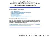 alaskalist.com - Alaska Mailing Lists, Alaska Sportsmen, Alaska Fishing, Alaska Permanent Fund, Alaska Tourists